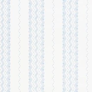 Sample - Schumacher Nauset Stripe Wallpaper in Sky For Sale