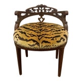 Image of Carved French Vanity Bench For Sale