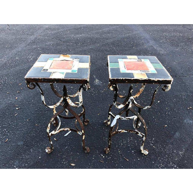 Black Vintage Iron Tile Top Tables - a Pair For Sale - Image 8 of 10