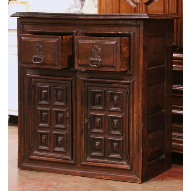Wood 17th Century Spanish Catalan Carved Walnut Two-Door Buffet Cabinet For Sale - Image 7 of 13