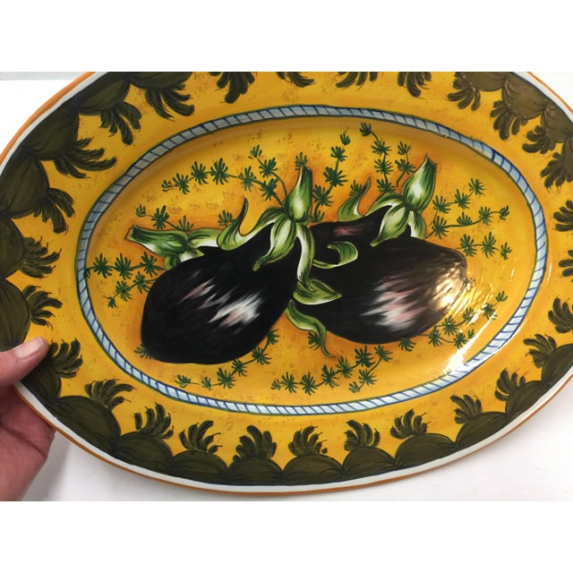 Italian Ceramic Platter Eggplant Hand Painted For Sale - Image 4 of 7