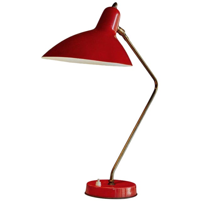 1950s Mid-Century Modern Boris Lacroix Red Table Lamp For Sale