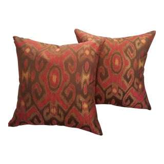 "Garnet Red & Bronze 24"" Ikat Down Pillows - a Pair"