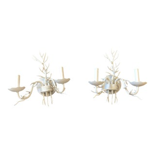 Ballard Designs White Coral Sconces - a Pair For Sale