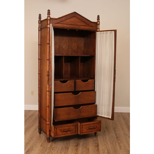 Hollywood Regency Century Faux Bamboo Bedroom Armoire Cabinet For Sale - Image 3 of 13
