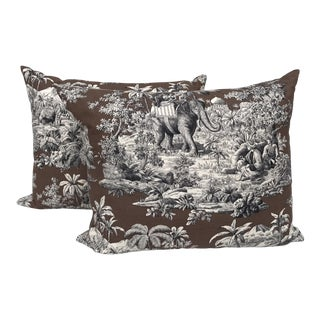 Manuel Canovas Custom Safari Toile Pillows- A Pair For Sale