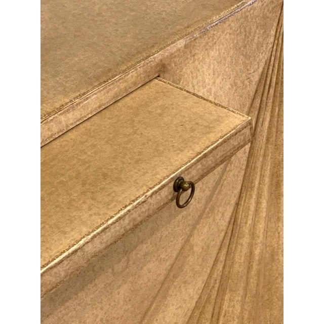 Aldo Tura Parchment Leather Trompe l'Oeil Draped Console For Sale In West Palm - Image 6 of 12