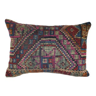 Vintage Hand Embroidered Turkish Pillow, Ethnic Farmhouse Decor 14'' X 20'' (35 X 50 Cm) For Sale