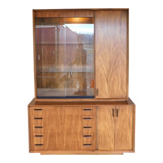 Lane Modern Style Walnut 2 Pc Lighted Top Display Cabinet / Credenza For Sale