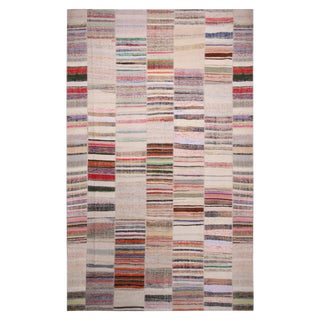 Rug & Kilim's Patchwork Beige and Multi-Color Wool Kilim Rug For Sale