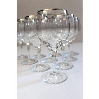 Vintage Lenox Weatherly Platinum Trim Crystal Wine Glasses - Set of 10 Preview