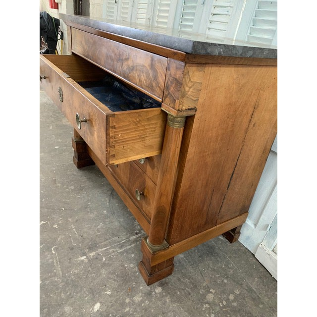 Early 19th Century 19th Century French Louis Philippe Bookmatched Commode With Original Marble Top For Sale - Image 5 of 7