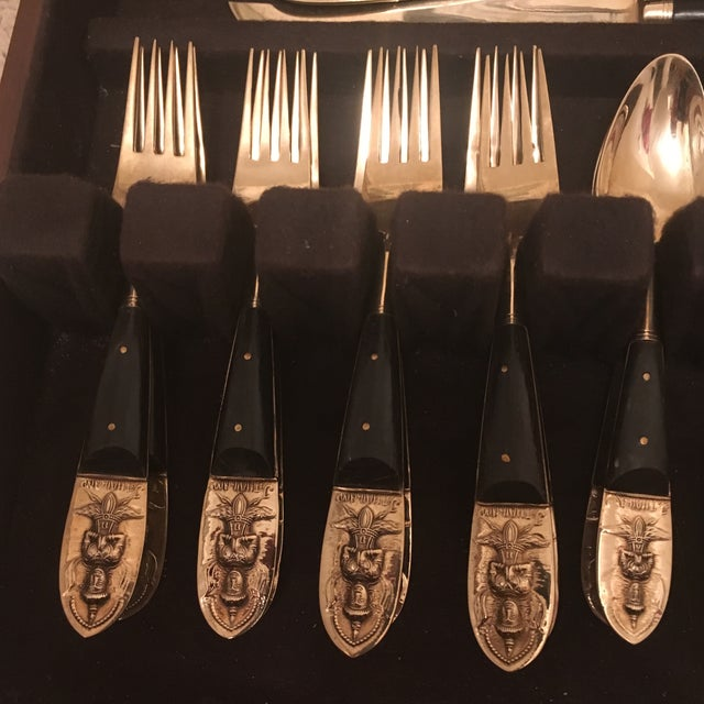 Brass Mid Century Brass and Rosewood J. Thailand Flatware Set 28 Pieces For Sale - Image 7 of 12