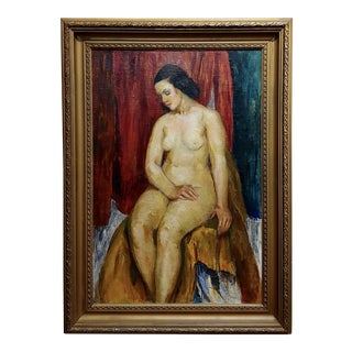 Bernard Glasgow - Seated Nude Woman - Oil Painting -C.1935 For Sale