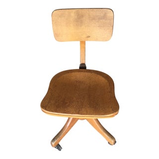 1940s Vintage Wooden Swivel Office Chair For Sale