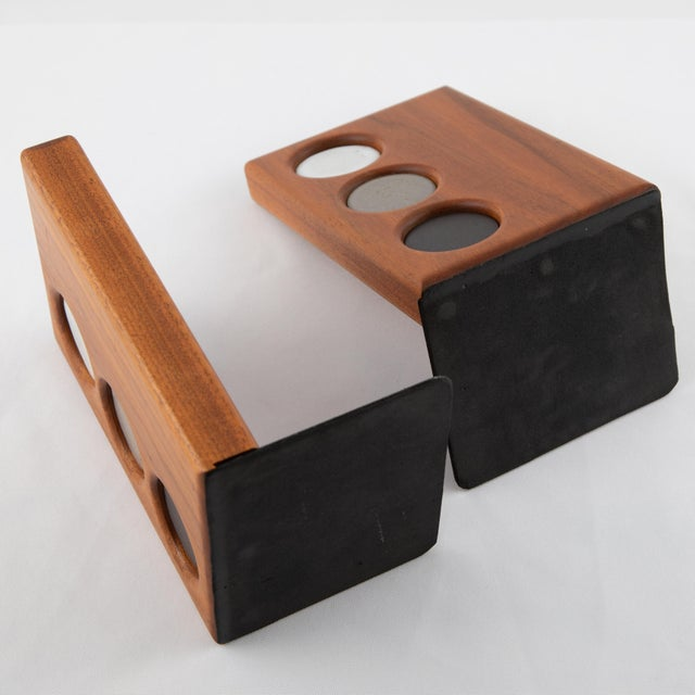 1960s 1960s Ceramic and Walnut Bookends by Gordon and Jane Martz for Marshall Studios - a Pair For Sale - Image 5 of 12