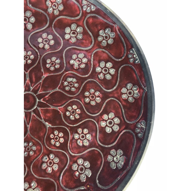 Late 20th Century Late 20th Century Vintage Brass Enamel Decorative Plate For Sale - Image 5 of 8