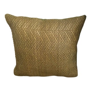 "16"" Olive Green Criss -Cross Woven Leather Pillow With Velvet Backing For Sale"