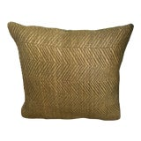 Image of Woven Leather Olive Green Pillow With Velvet Backing For Sale