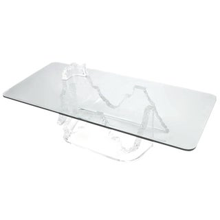 Lucite and Glass Iceberg Coffee Table Lion in Frost Attributed For Sale