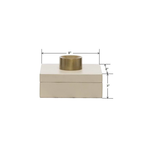 Early 21st Century Contemporary Cream Leather Decorative Box, Stylish Storage Box, Accessories Box For Sale - Image 5 of 7