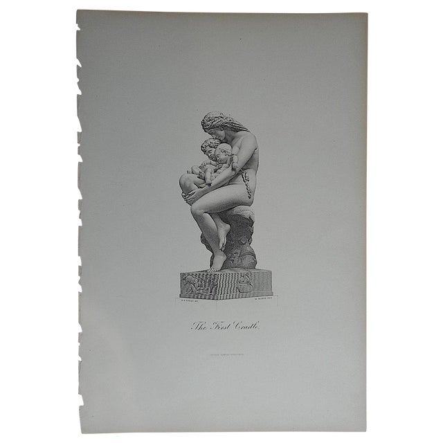 """Antique Engraving """"The First Cradle"""" Folio Size - Image 1 of 3"""