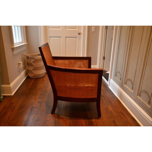Crate Barrel Rattan Leather Accent Chair Chairish