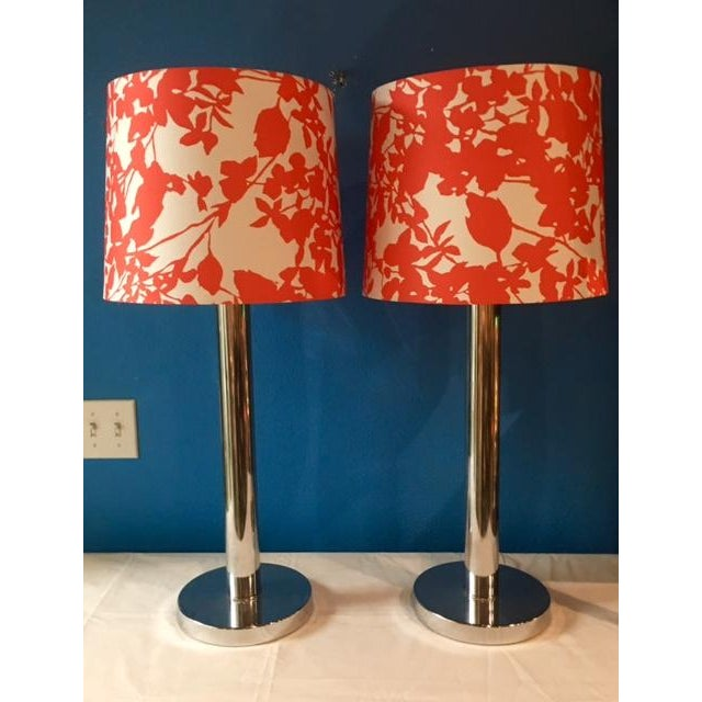 Mid-Century Modern Chrome Table Lamps - A Pair - Image 2 of 5