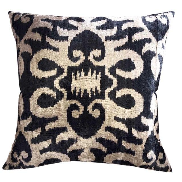 Custom Down Feather Silk Velvet Ikat Pillow For Sale