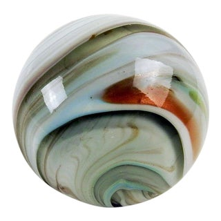 Gray & Copper Glass Swirl Paperweight For Sale