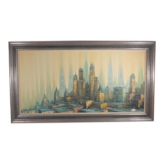 1970s Vintage Antonini Cityscape Painting For Sale