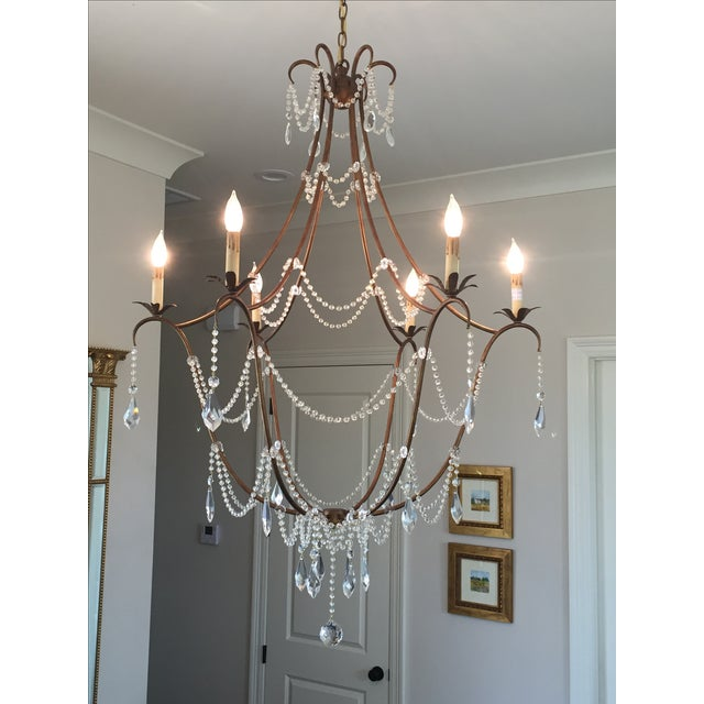 Gold & Crystal Draped Chandelier - Image 2 of 4