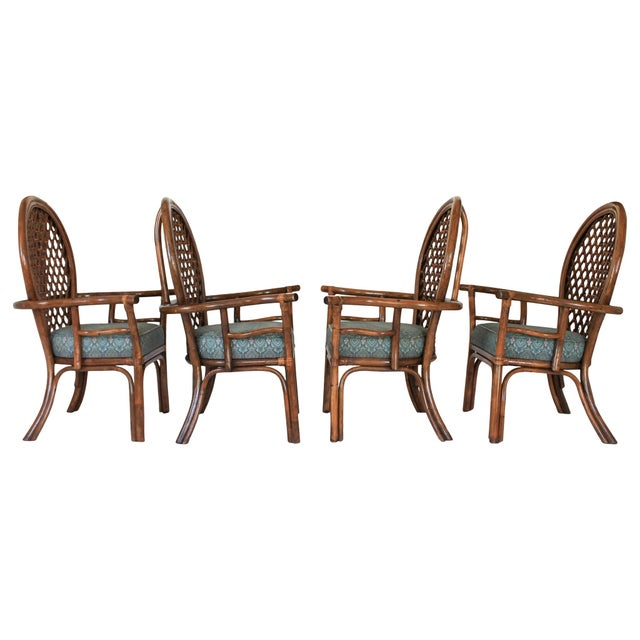 Mid-Century Modern Mid-Century Fan Back Rattan Dining Chairs - Set of 4 For Sale - Image 3 of 9