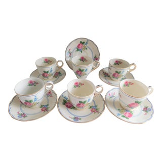 Grindley England Ceramic Floral Demi-Tasse Cups & Saucers - Set of Six