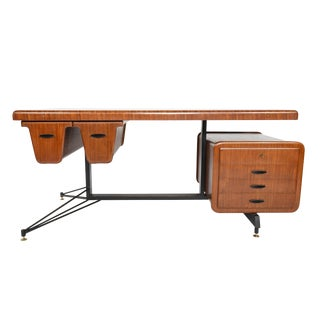 Italian Modern Desk by Carlo Ratti in Bent Ply + Mahogany For Sale