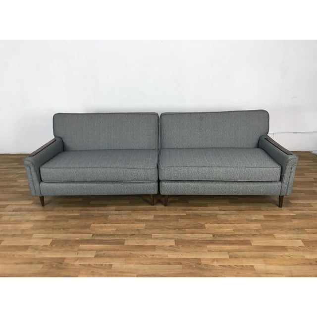Contemporary Mid-Century Two Pc. Blue Sectional Sofa For Sale - Image 3 of 7