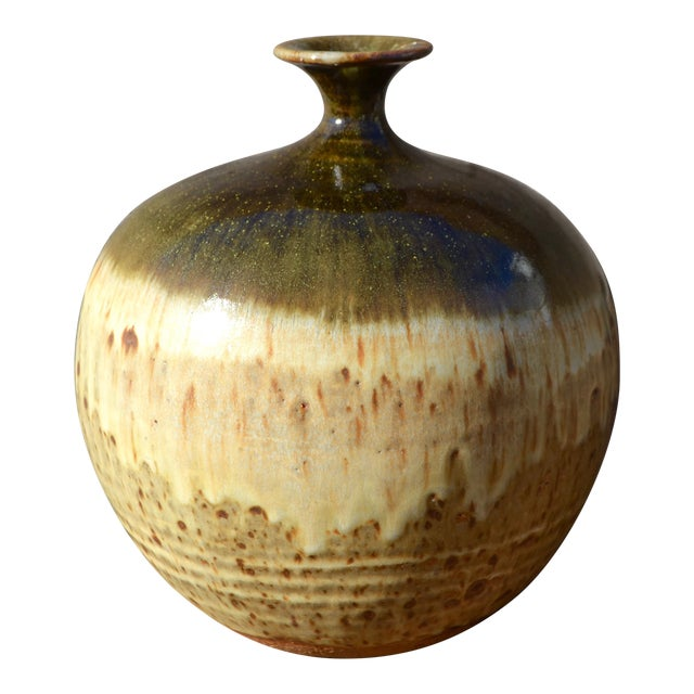 Vintage Ceramic Weed Pot in Olive Green and Earth Tones - Image 1 of 11