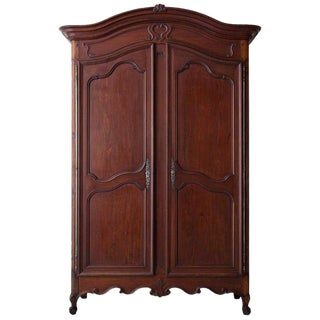 19th Century French Louis XV Style Mahogany Armoire For Sale