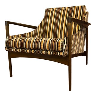 Ib Kofod Larsen for Selig Striped Mid Century Modern Lounge Chair For Sale
