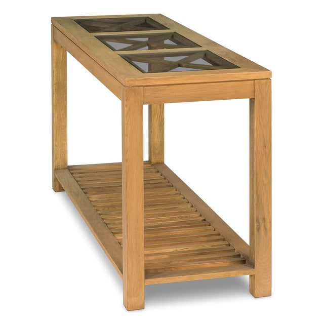 Sarreid LTD Oak Cross Wall Table - Image 3 of 8