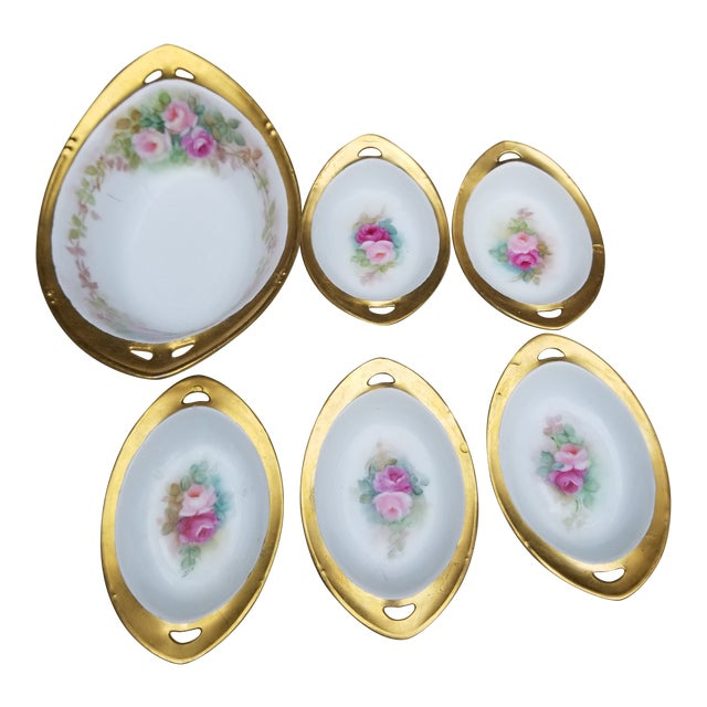 """Victorian """"Rs"""" China Nut Bowl With Five Little Serving Dishes - 6 Pieces For Sale"""
