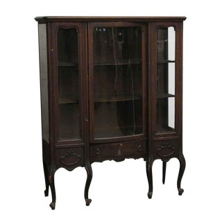 20th Century Traditional Curved Leg Wooden Curio Cabinet For Sale