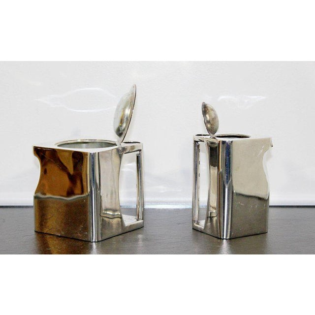Art Deco Metal 5-Piece Cube Tea Pot Set Stamped Made in England 1917 For Sale In Detroit - Image 6 of 10