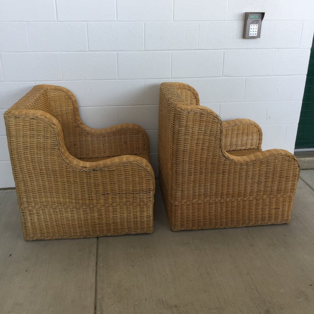 1970s 1970s Boho Chic Rattan Club Chairs - a Pair For Sale - Image 5 of 11