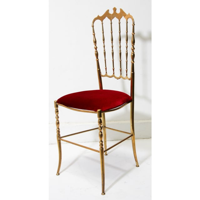 Chiavari Polished Brass Chair With Red Velvet, Italy, 1960s For Sale - Image 9 of 10