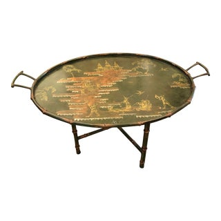 Italian Tole Chinoiserie Tray Table For Sale
