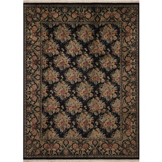 Shabby Chic Kashan Pak-Persian Helena Black/Gold Wool Rug -8'11 X 12'1 For Sale