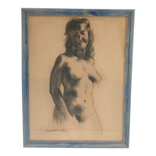 Framed Charcoal Sketch Nude Woman, Signed Emil Kosta For Sale