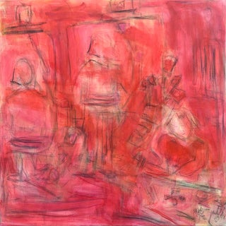 """""""Painting With Betty"""" by Trixie Pitts Large Expressionist Oil and Acrylic Painting For Sale"""