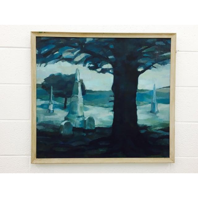 Vintage Original Blue Abstract Landscape in Frame - Image 2 of 7